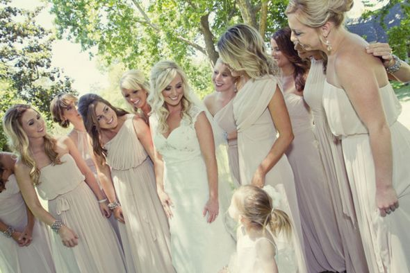 soft pink bridesmaid dresses Shabby Chic Silver and White Wedding ...
