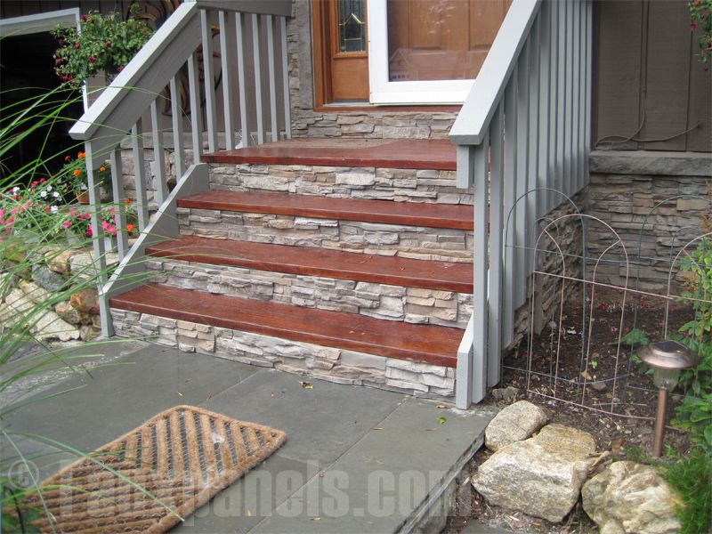 faux panel stone for easy step makeover by regency stairs front porch steps front steps. Black Bedroom Furniture Sets. Home Design Ideas
