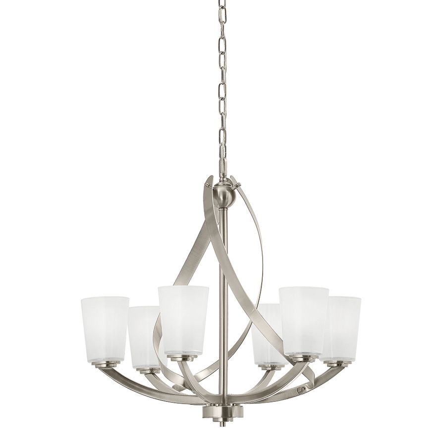 Shop Kichler Layla 2421 In 6 Light Brushed Nickel Etched Glass Shaded Chandelier At Lowes