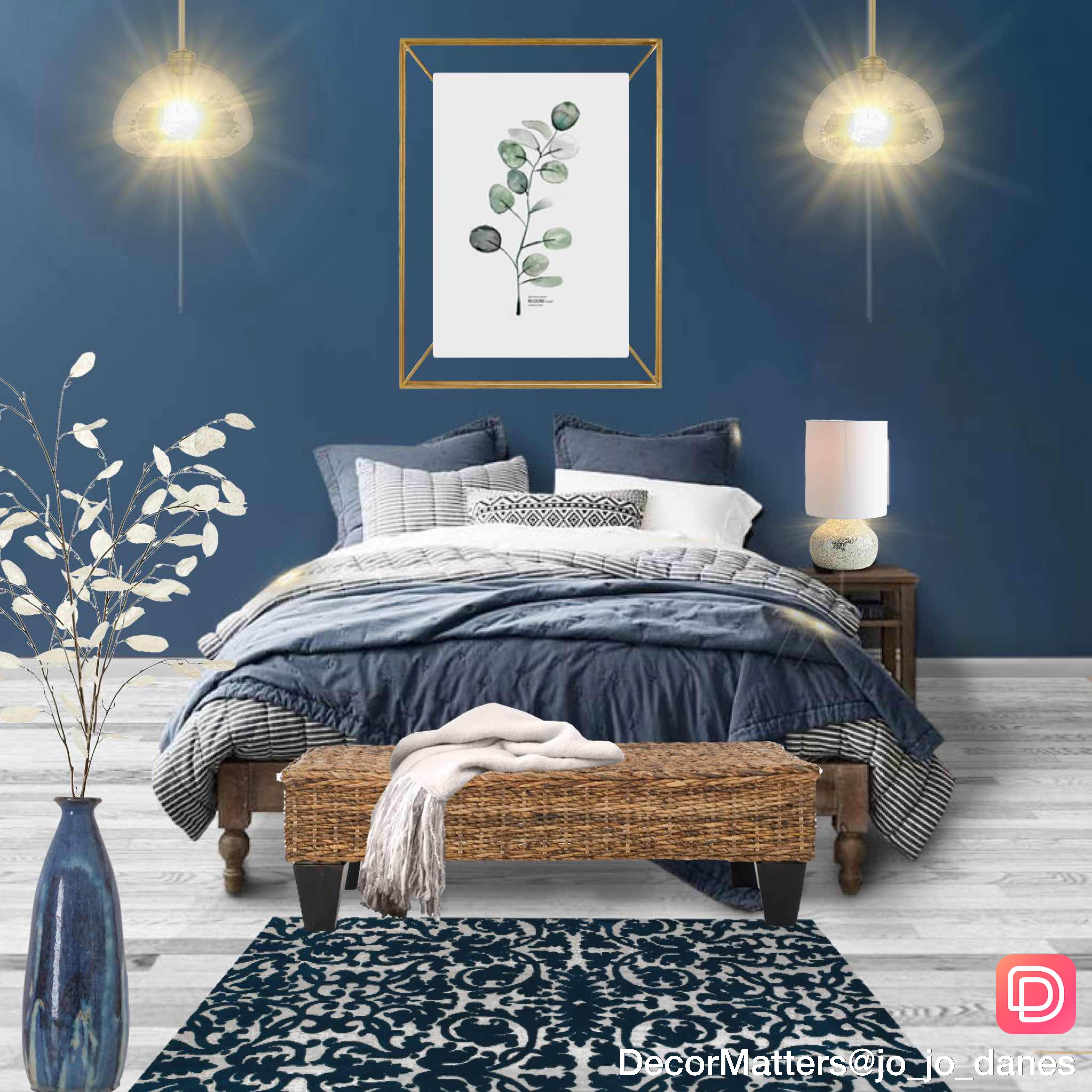 Beautiful Mix Of Blues In This Bedroom Design By One Of Our Users