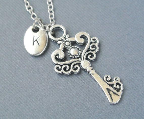 key necklace skeleton key jewelry silver key necklace initial