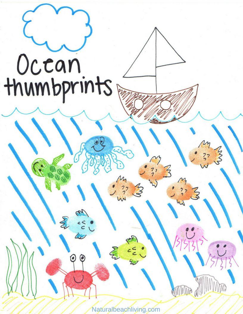 Thumbprint Ocean Animals Art With Free Ocean Theme Printables