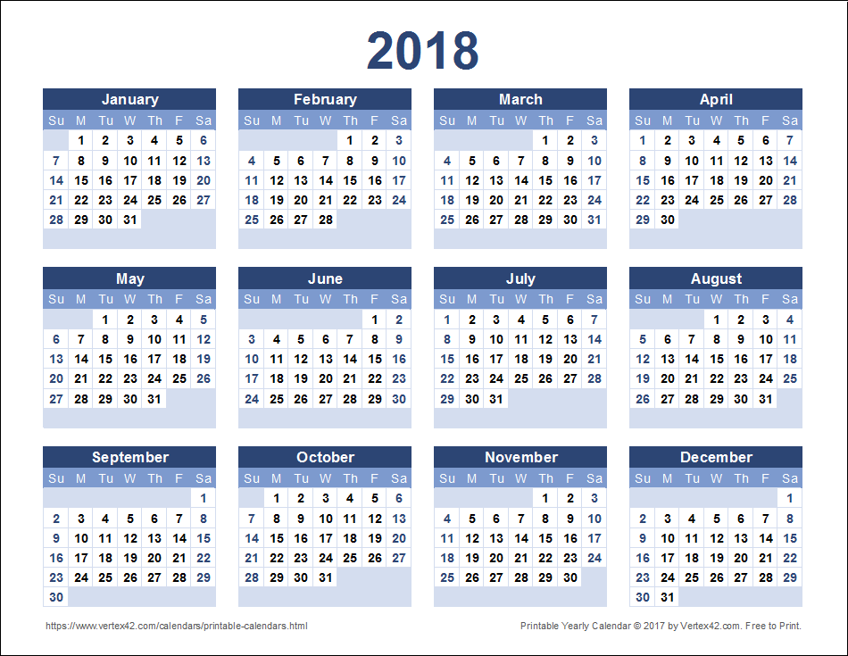 Calendario Con Week 2018.Download A Free Printable 2018 Yearly Calendar From Vertex42