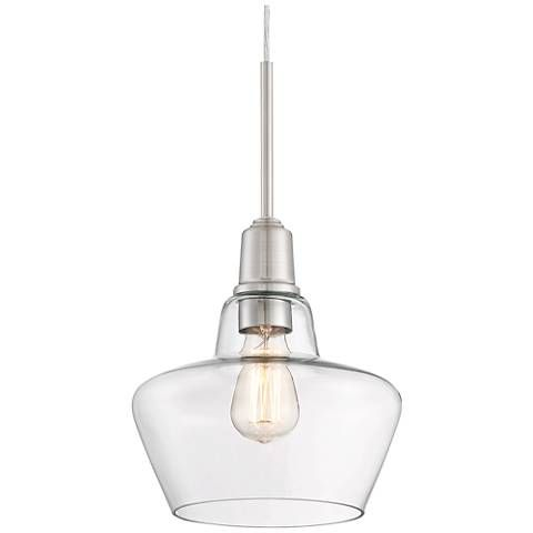 Madoc 9 34w brushed nickel and clear glass mini pendant kitchen madoc 9 34w brushed nickel and clear glass mini pendant aloadofball Image collections