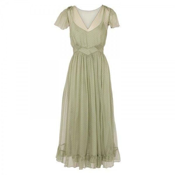 Lucy in Disguise Regatta polka dot dress (1,810 MXN) ❤ liked on Polyvore featuring dresses, vestidos, gowns, green, women, green dress, v neck dress, print dresses, silk dress and silk slip dress