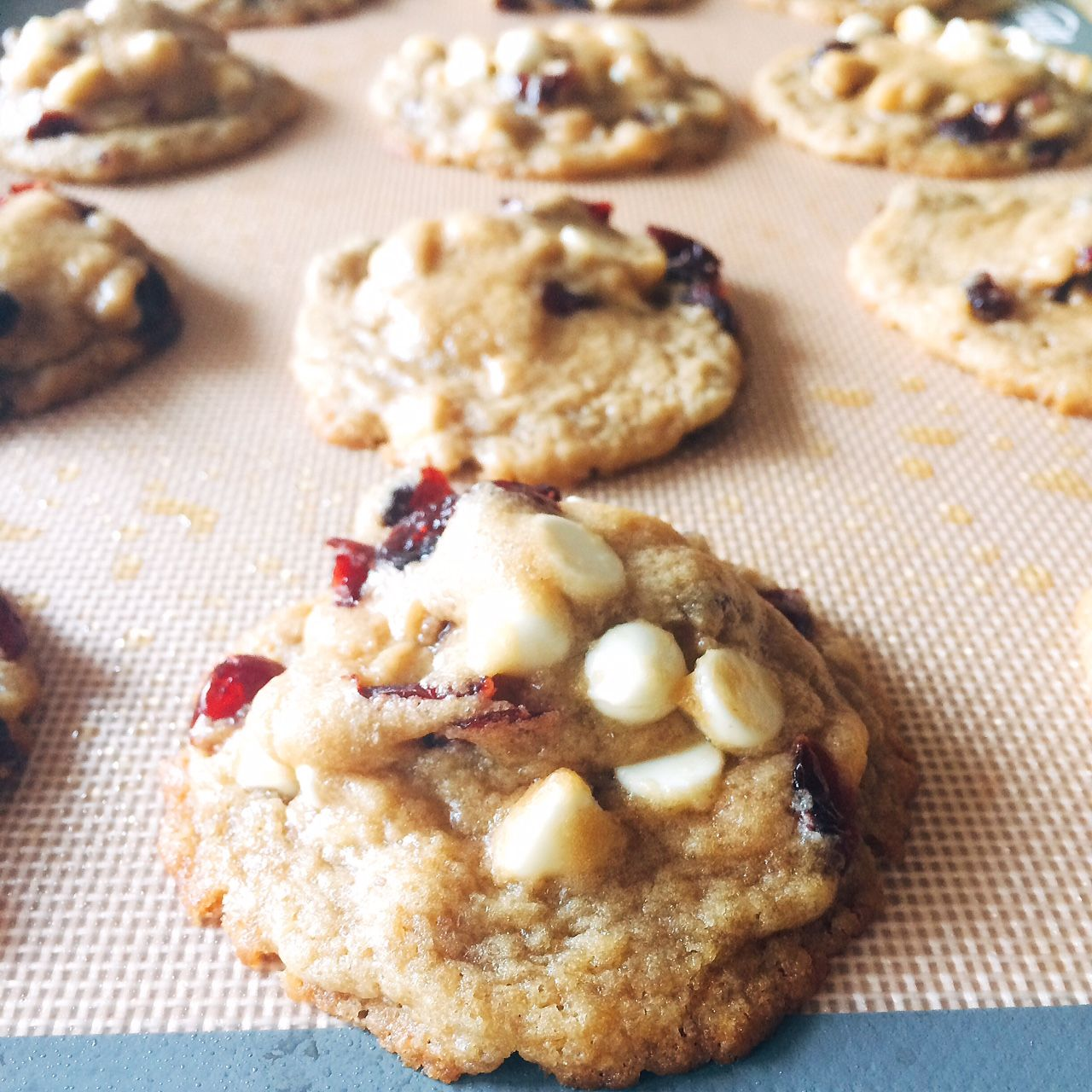 White Chocolate-Cranberry Cookies   Sweet white chocolate chips complement tart, dried cranberries in these chewy cookies packed with brown sugar. The red and white combination is perfect for your patriotic summer celebrations!