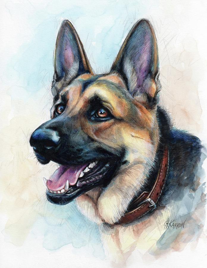 German Shepherd Dog Painting by Christine Karron