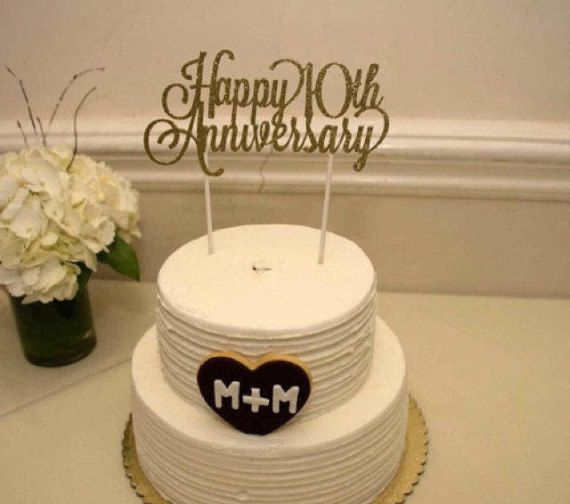 Custom Year Gold Or Silver Glitter Hy Anniversary Cake Topper Can Be Made For Any