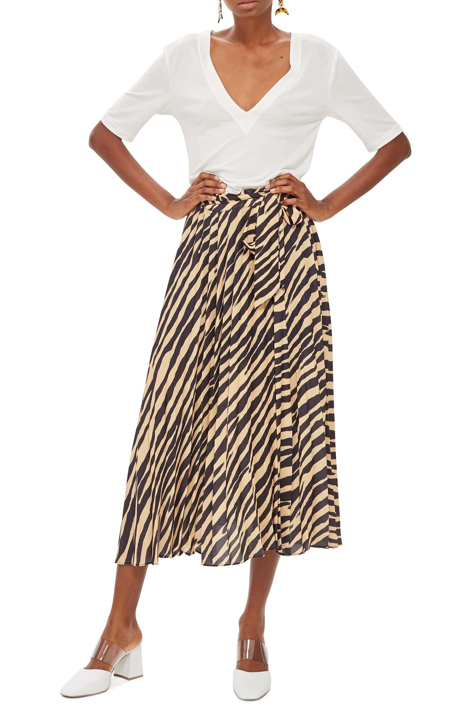 649c0812a Zebra Print Pleated Midi Wrap Skirt, Main, color, Black Multi ...