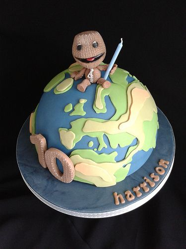Astonishing Little Big Planet Cake Planet Cake Little Big Planet Planet Birthday Cards Printable Riciscafe Filternl
