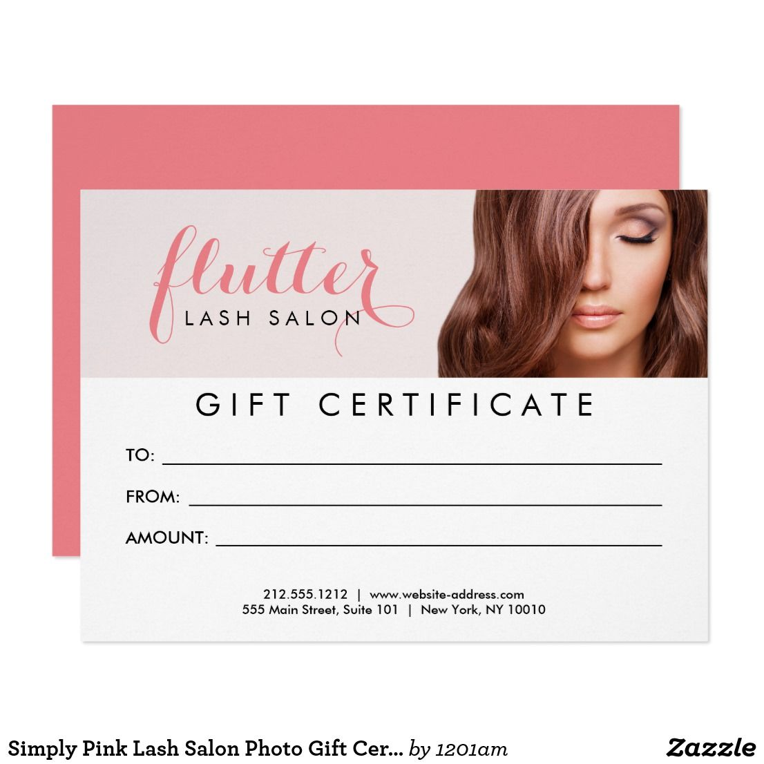 Simply Pink Lash Salon Photo Gift Certificate Card Business