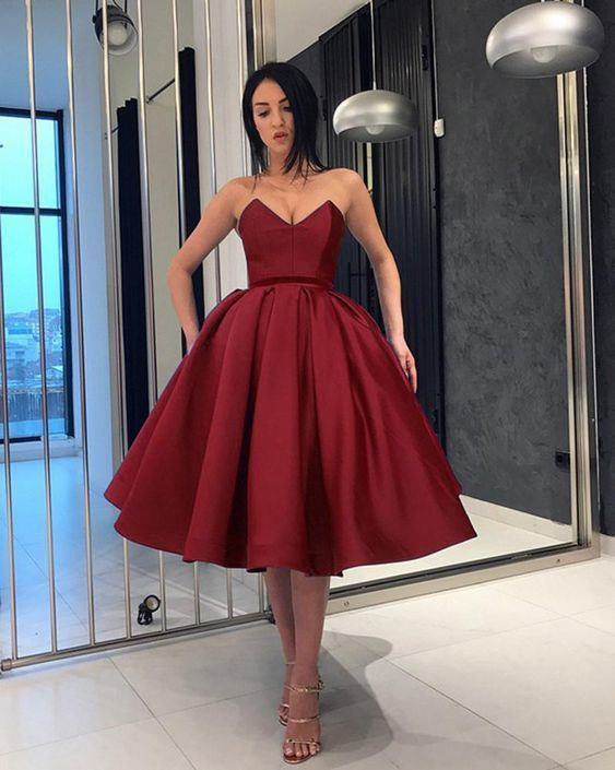 Burgundy Sweetheart Knee Length Short Evening Dress Girls