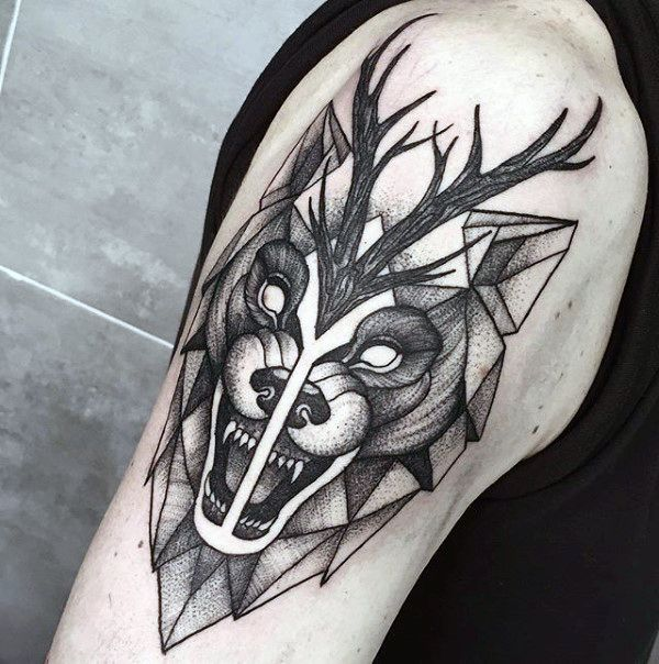 90 Geometric Loup Tattoo Designs For Men Idees Manly Encre Idees
