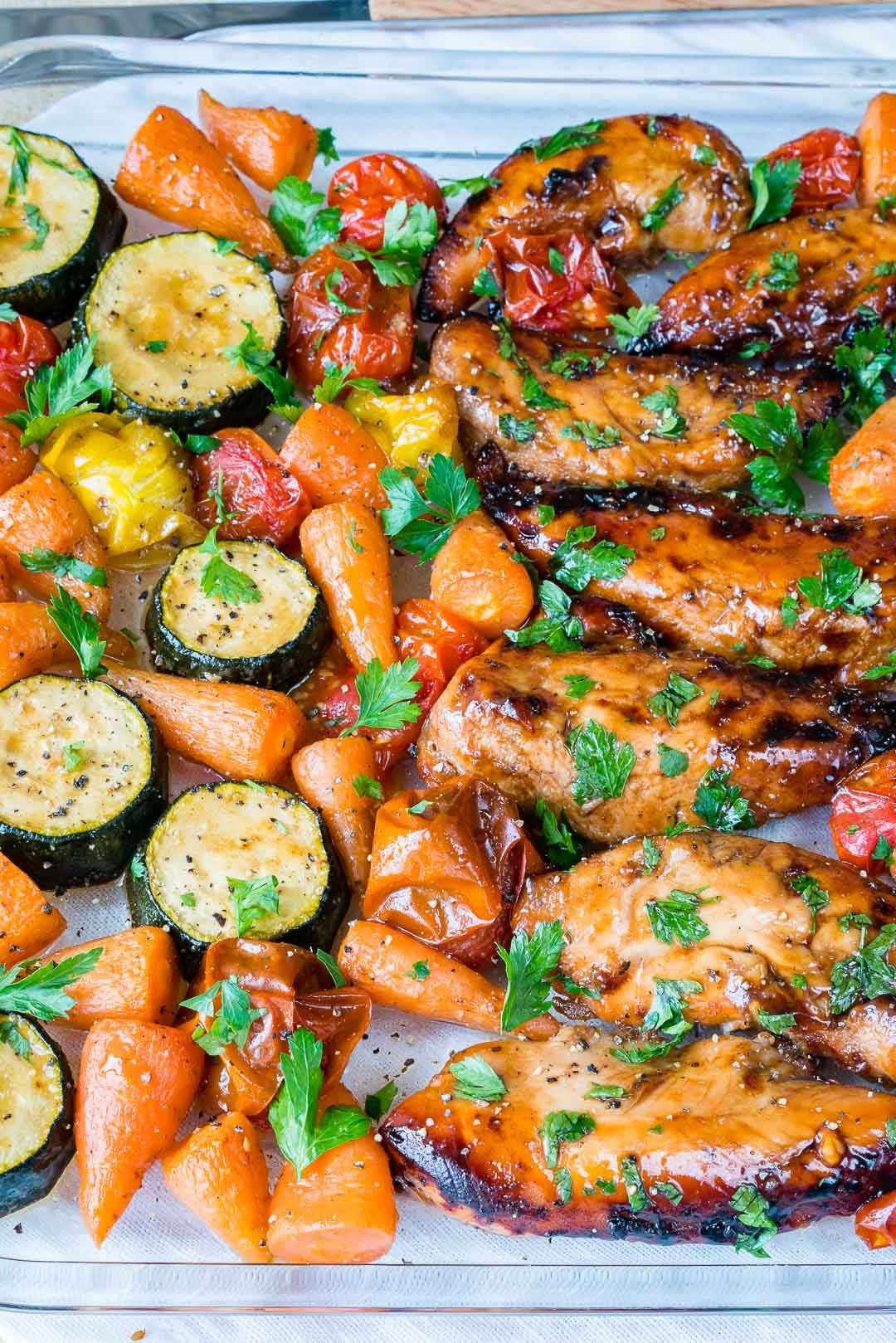 Clean Eating ONE PAN Balsamic Chicken + Veggies Whips up Quick is part of Balsamic chicken - 2 Tbsps raw honey 1 lb  chicken tenders 2 medium zucchini, sliced into 1 inch pieces 1 cup small    familymealplan familyrecipes dinnerideas