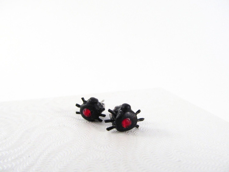 Black widow spider post earrings 1000 via etsy post