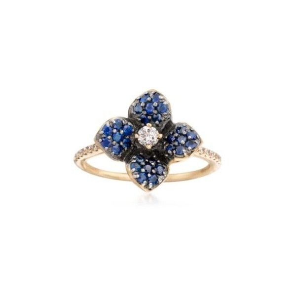 Ross-Simons Sapphire, Diamond Flower Ring in Gold. Size 6, .50ct t.w. ($685) ❤ liked on Polyvore featuring jewelry, rings, flower ring, sapphire ring, gold sapphire ring, yellow gold sapphire ring and gold flower ring
