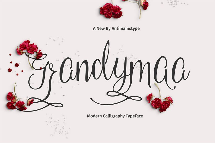 Grandymaa Script is a new and sweet calligraphy typeface, with ...