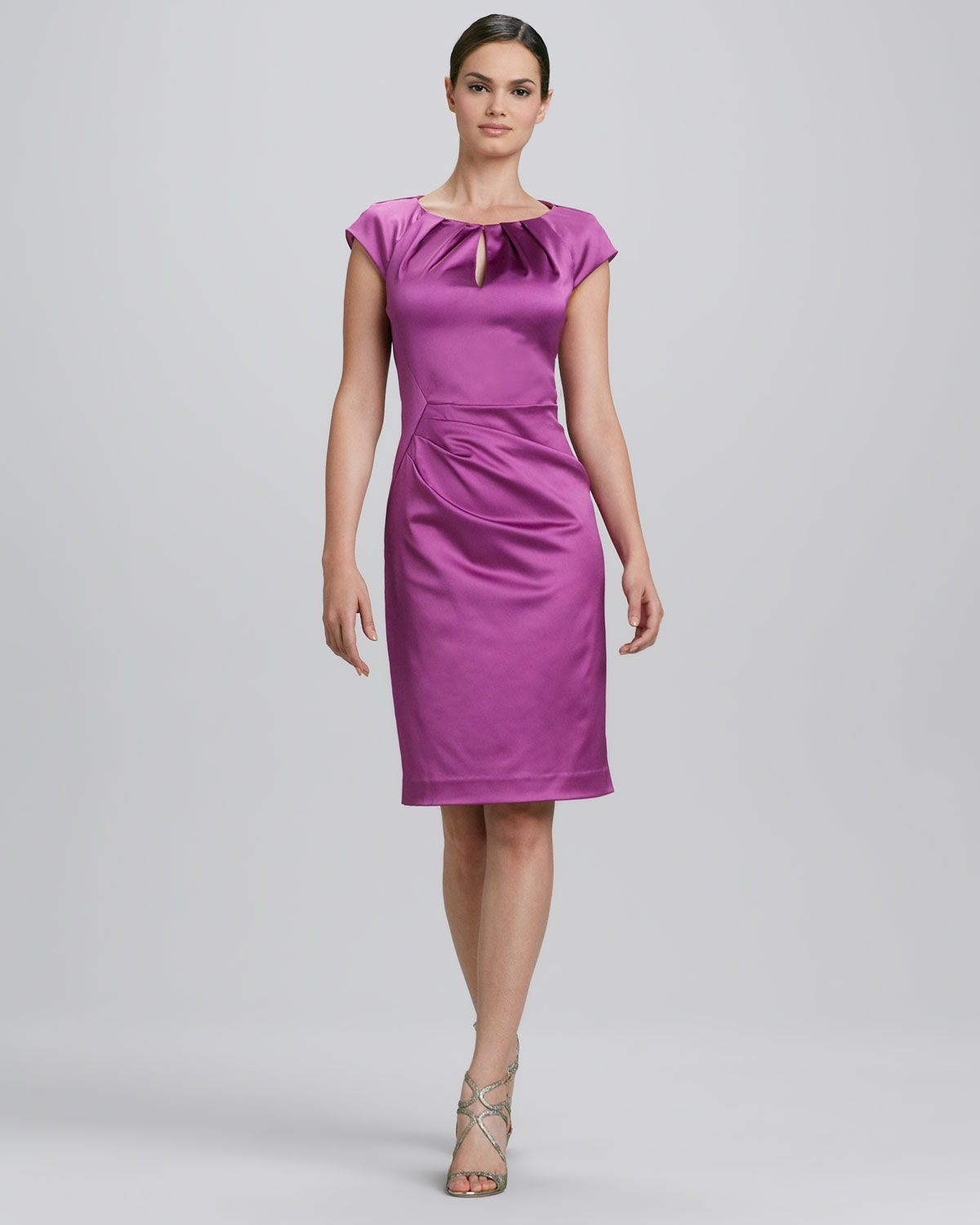 Kay Unger New York Jewel-Neck Ruched Cocktail Dress - Neiman Marcus ...