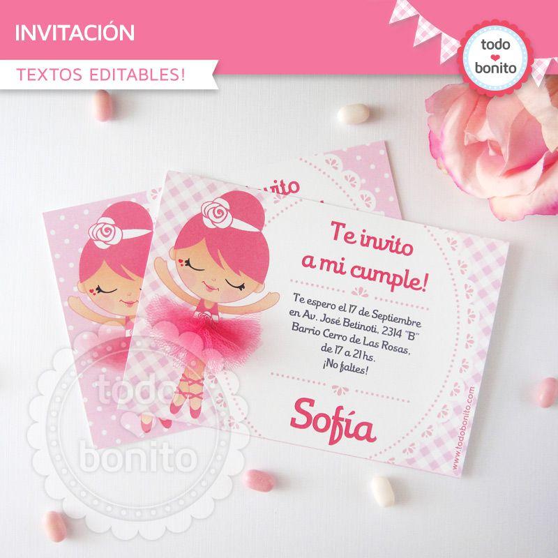 Invitaciones De Bailarina Para Imprimir Tarjetas De