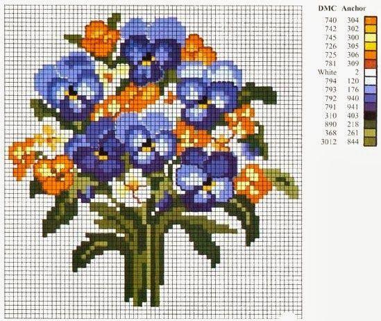 Ponto cruz: Flores