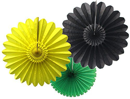 Hello Jamaica Party Fan Collection Made In The Usa By Devra Black Yellow Green Tissue Fans