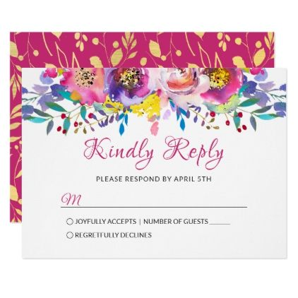 Fuchsia gold blossom floral wedding rsvp card stopboris Choice Image