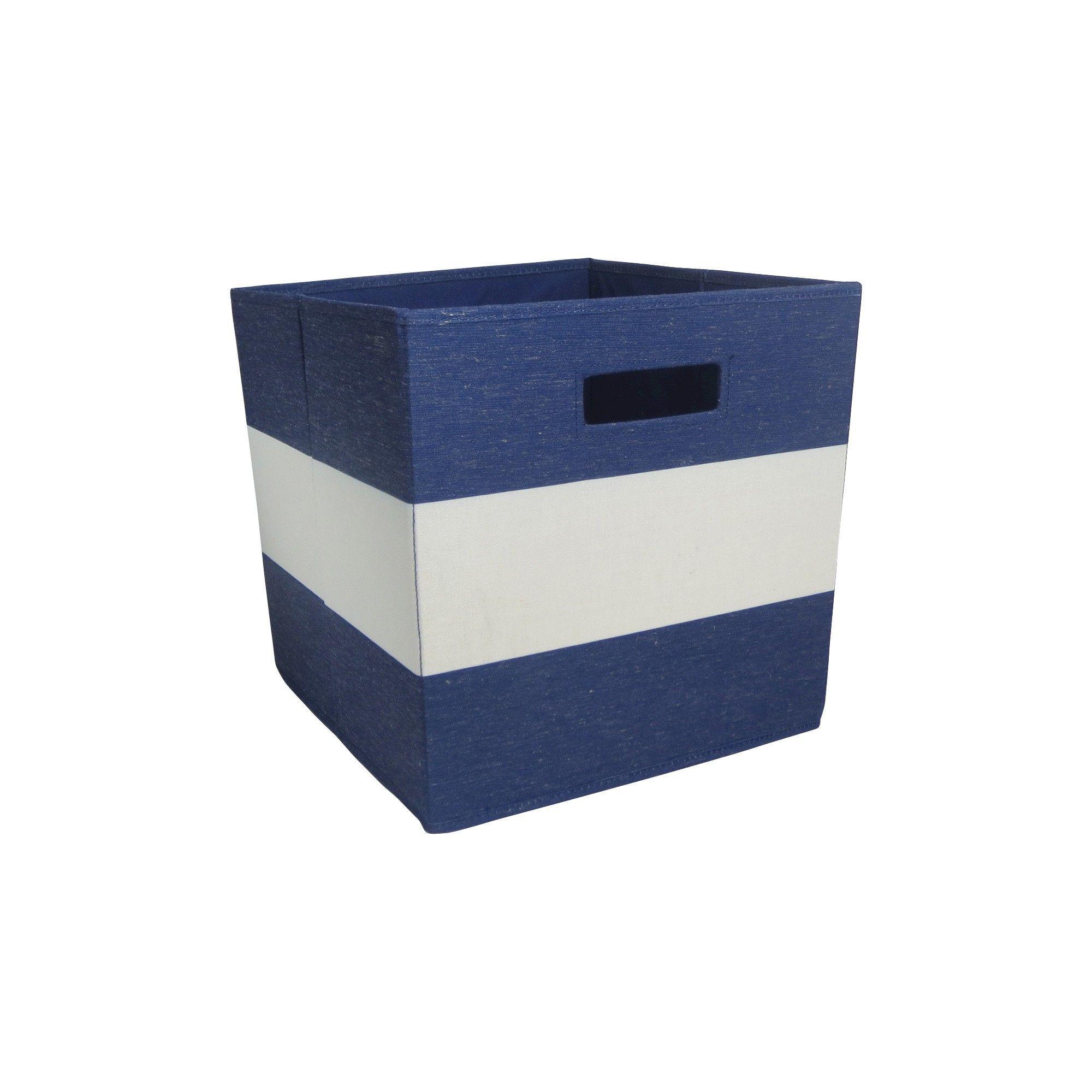 Fabric Cube Storage Bin Navy (Blue) Stripe   Pillowfort