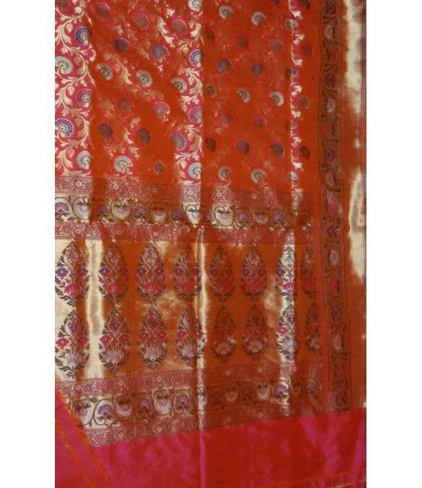 Red Pure Handloom Banarasi  Katan Silk Saree