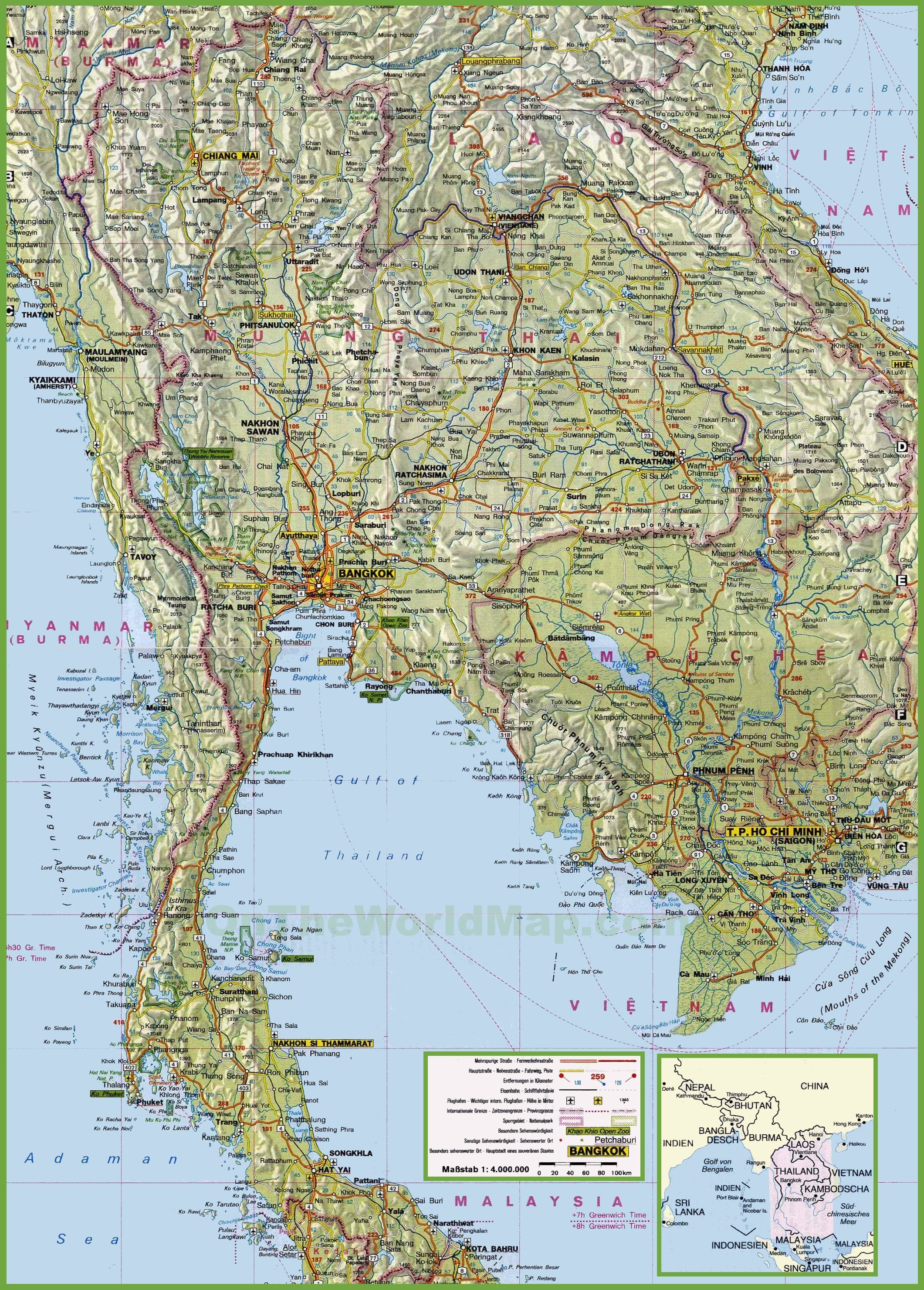 detailed maps of thailand - HD830×1157
