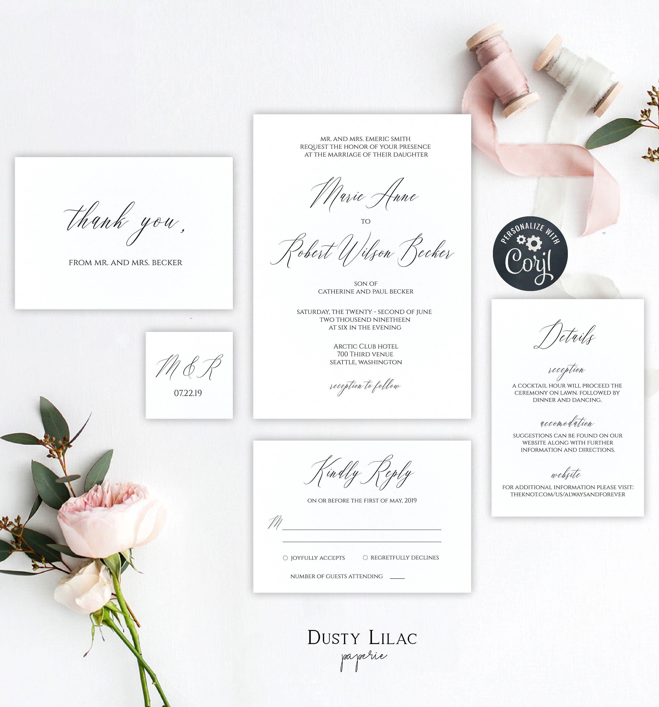 minimalist modern wedding invitation template, editable