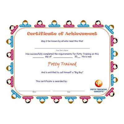 Free Potty Training Certificates For Boys  Potty Training Ideas