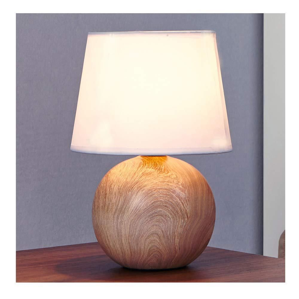 White Fabric Ceramic Small Wood Bedside Table Lamp Durable Round