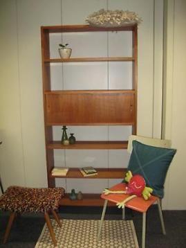 Vintage Boekenkast Retro Kast Roomdivider Teak Hout Open