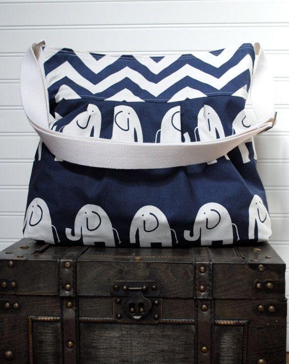 Navy Blue Elephant Large Diaper Bag  Stroller by PreciousLittleTot, $139.99