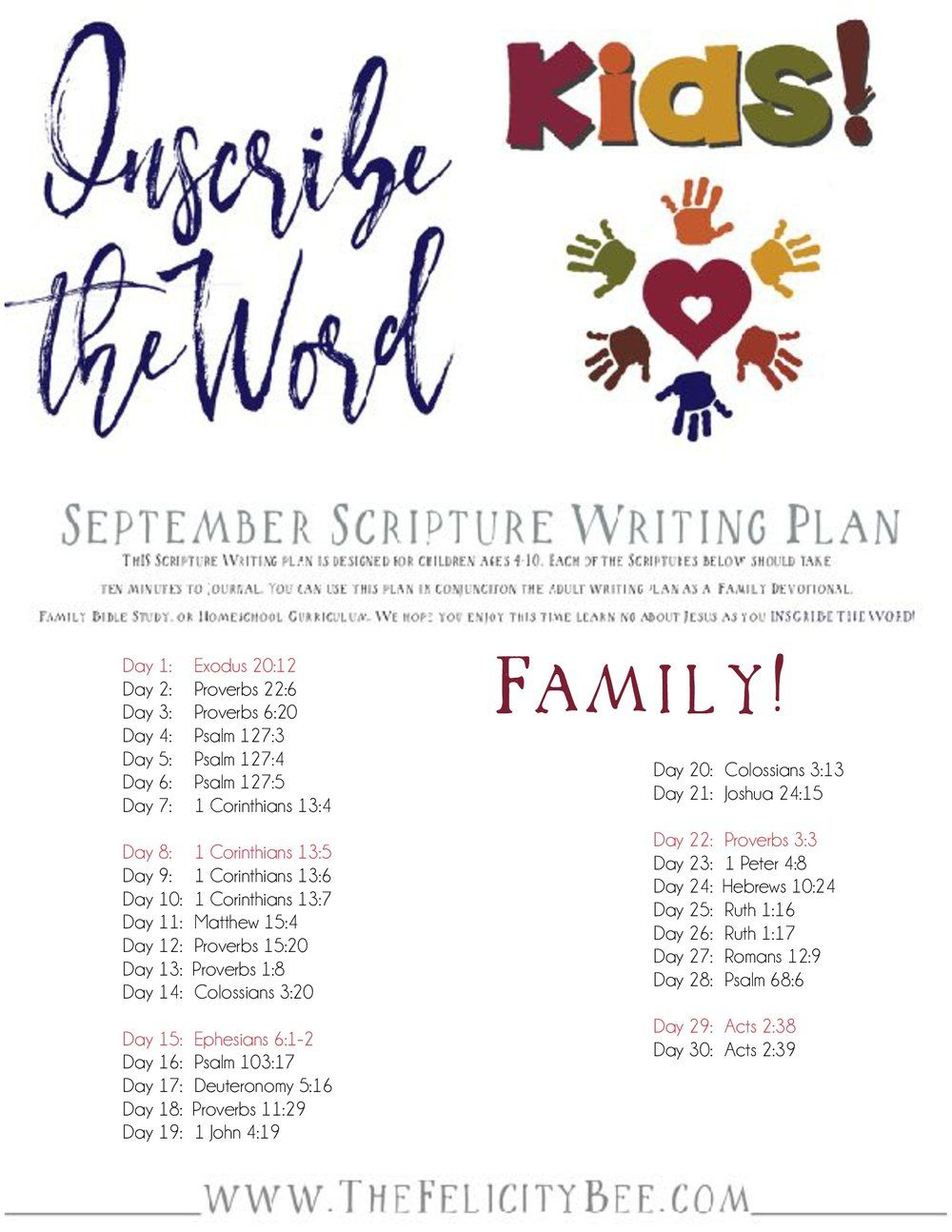 Inscribe the Word KIDS!       September Scripture Writing