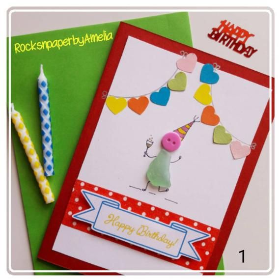 Happy Birthday Cards, Irish Sea Glass Card Suitable For