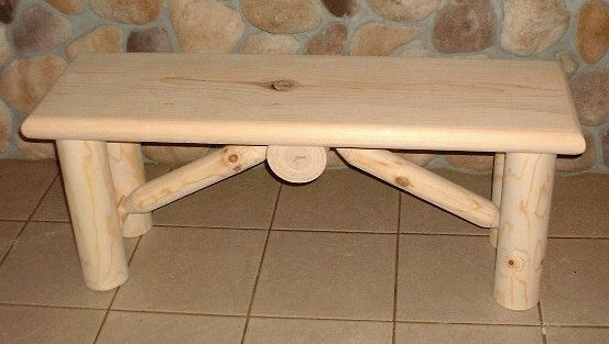 Log bench rustic pine log furniture by TnTwoodwerks on Etsy ...