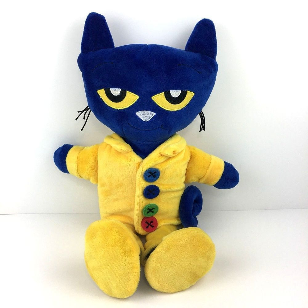 Zoobies Pete The Cat Plush Pajama Day Storybook Blue Yellow Stuffed