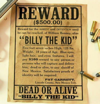 Billy The Kid Wanted Dead Or Alive Poster Reward Wanted Poster Pat Garret Billy The Kids Vintage Ads Wild West