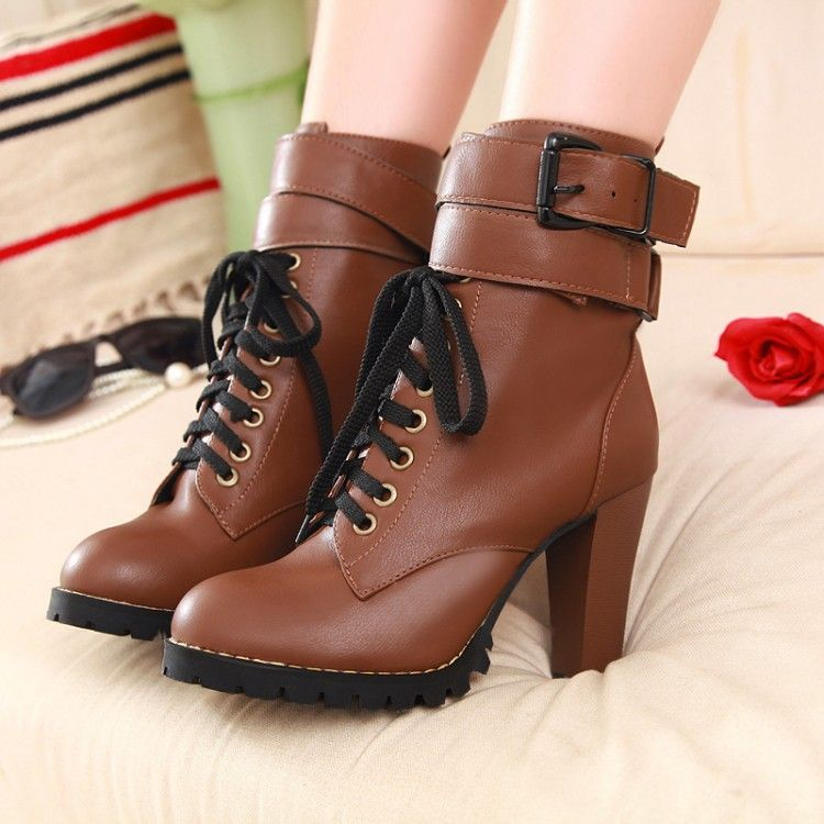 Details about  /Women Chunky Heels Ankle Boots Patent Leather Side Zip Casual Shoes Size 34-48