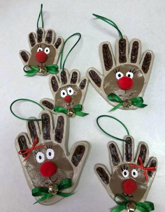 Handprint Clay Reindeer Ornaments | Clay crafts for kids ...  Reindeer Handprint Ornament