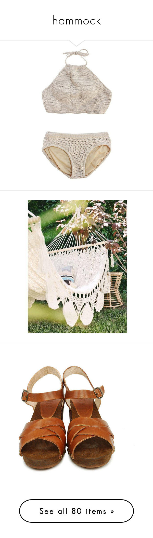 """""""hammock"""" by poisoninmyveins ❤ liked on Polyvore featuring swimwear, bikinis, swim, bathing suits, underwear, halter bathing suit, bikini swimsuit, halter top, swimming costume and halter swimsuit"""