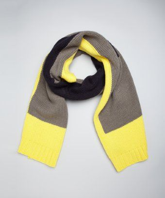 525 America yellow and black knit colorblocked scarf