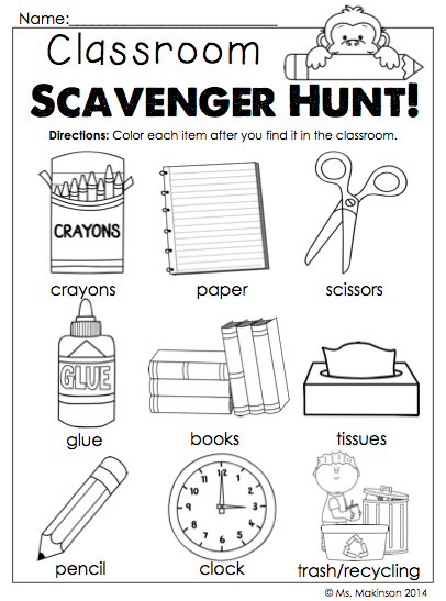 photograph about Classroom Scavenger Hunt Printable identified as September Printables - Kindergarten Literacy and Math