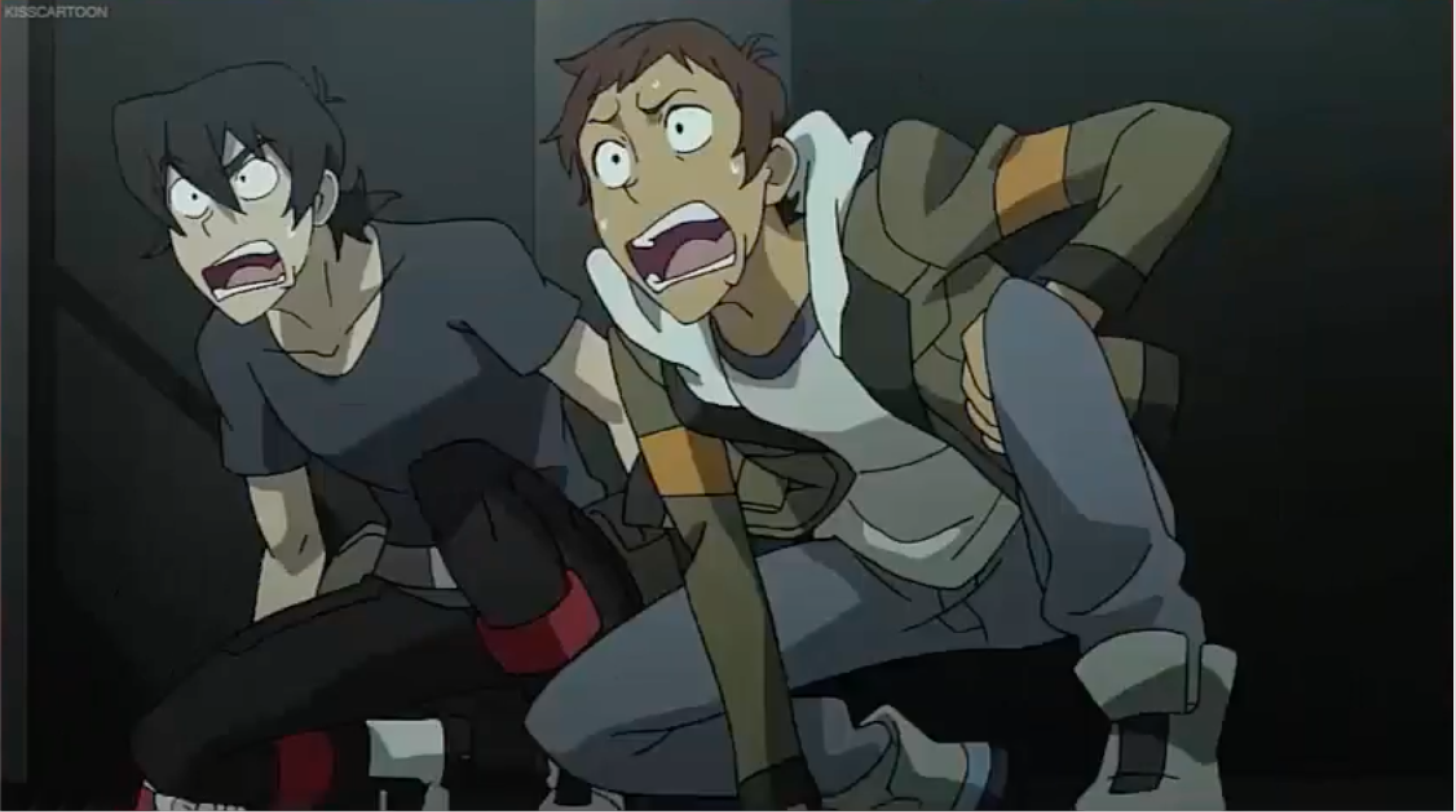 Keith and Lance screaming and ran for their lives from Voltron