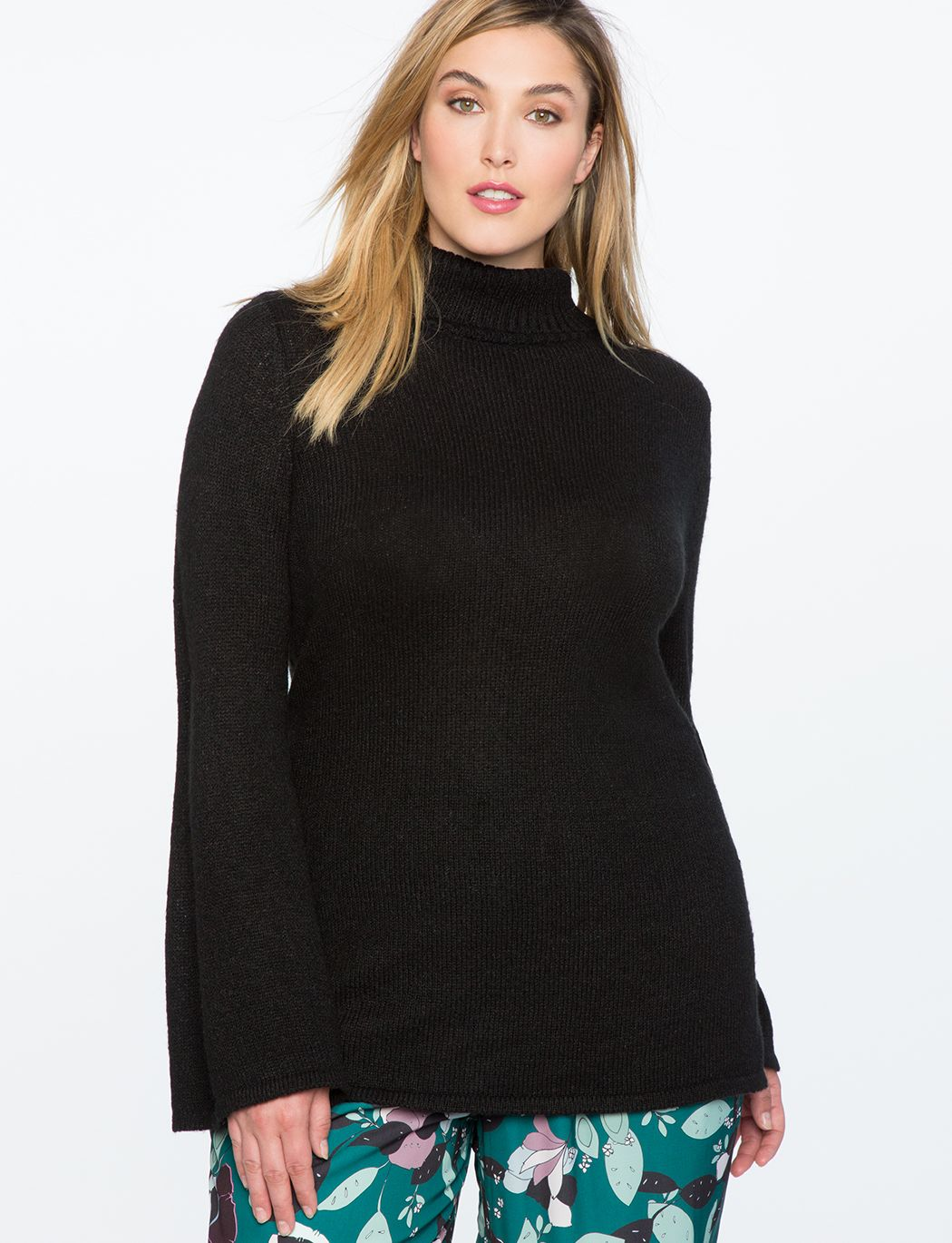 Flare Sleeve Tunic Sweater with Slits | Women's Plus Size Tops ...