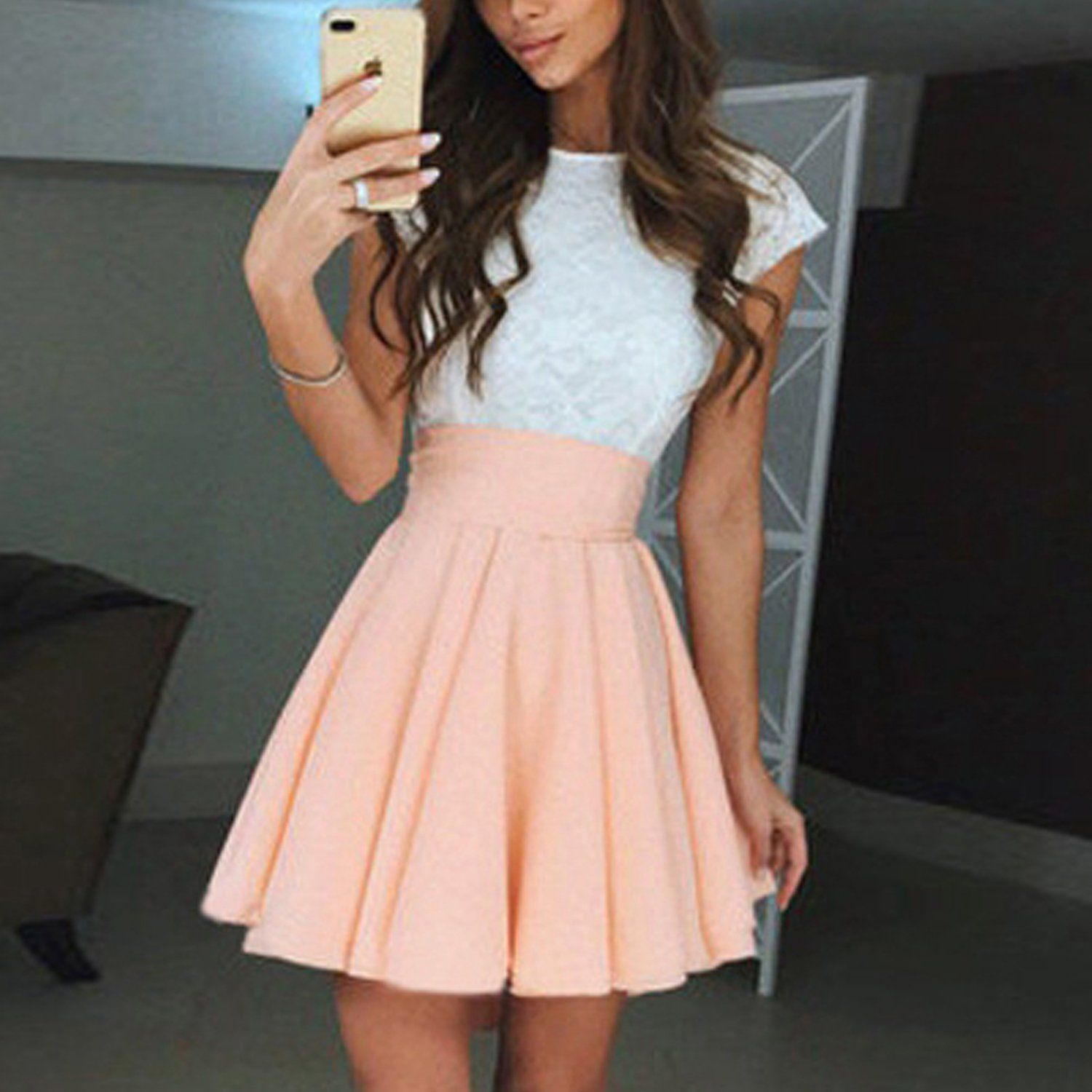 Mia Cute Lace Top High Waisted Skater Skirt Mini Dress Pretty Dresses For Teens Casual Dresses For Teens Dresses For Teens [ 1500 x 1500 Pixel ]