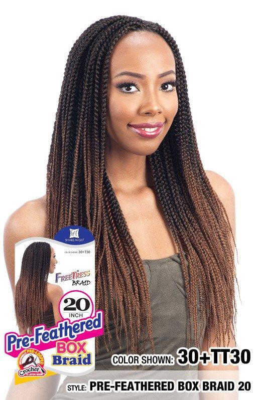 Pre Feathered Box Braid 20 Available Colors 1 1b 2 4 27