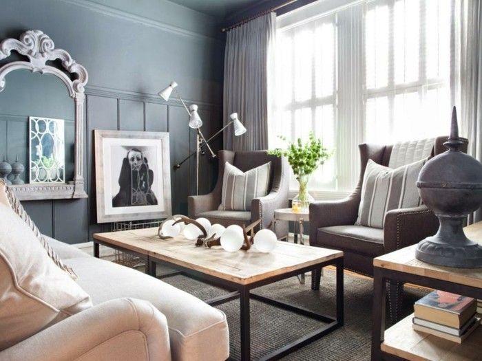 Wohnzimmer Grau Wandgestaltung Beige Möbel Pflanzen Wanddeko