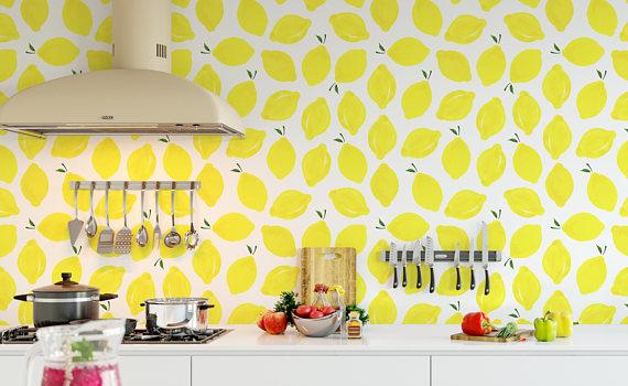 Self Adhesive Yellow Lemon Removable Wallpaper